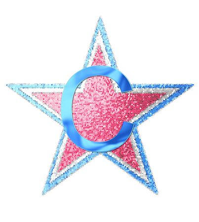 The letter C, in the alphabet set Red White and Blue is blue metallic.  Letter sits on three mosaic stars of red, white and blue.
