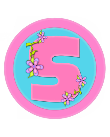 The letter S, in the alphabet set Bouquet in Pastels, is soft pink.  Letter is decorated with flowers and sits on circles in aqua and pink. Stock Photo