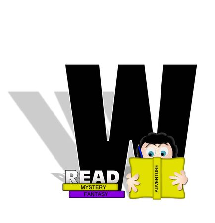 absorbed: The letter W, in the alphabet set Absorbed in Reading, is black and decorated with books and people absorbed in reading.  Stark shadow hangs behind letter.  Books have genre printed on spine binding.