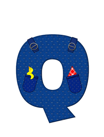 handkerchief: The letter Q, in the alphabet set Farmer Brown, is denim with straps and pockets.  Checkered handkerchief peeks out of pocket. Stock Photo