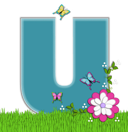 flutter: The letter U, in the alphabet set Happy Springtime, is turquoise.  Letter is sitting on bright green grass and is decorated with flower and vines.  Butterflies flutter around letter.