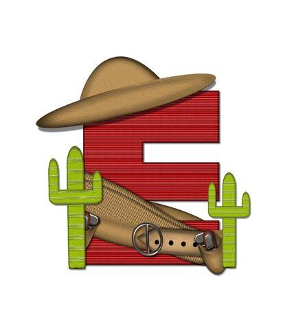 """문자 """"E""""는 알파벳 세트 """"Bandido""""에서 빨간색으로 줄 지어 꽉 짜인 패턴입니다. 편지 위에 총 벨트와 담요를 착용하고있다. 두 선인장 각"""