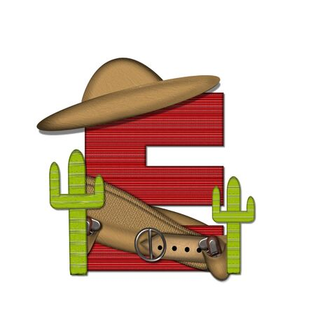 theif: The letter E, in the alphabet set Bandido, is a red lined, tight woven pattern.  Letter is wearing a gun belt and blanket with a somberro on top.  Two cacti sit at each side.