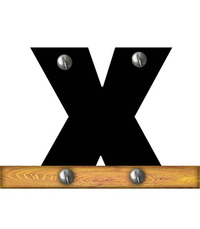 The letter X, in the alphabet set Alphabet Building, is black and riveted with silver screws to a wooden board.