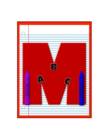 notebook paper: The letter M, in the alphabet set Grade School Homework  is  red and and sits on background of notebook paper.  Crayons and ABCs decorate letter.