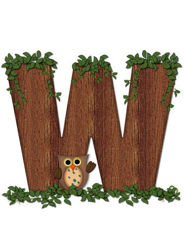 The letter W, in the alphabet set Deep Woods Owl is filled with wod texture and has vines growing all over it.  Owl sits on log-style letter.