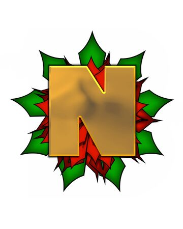 The letter N, in the alphabet set Christmas Poinsettia is shiny gold metallic.  Letter sits on a large red, poinsettia. Stock fotó