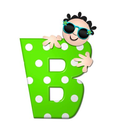 bahama: The letter B, in the alphabet set Bahama Sunny, is vivid green with large white polka dots.  Beach dude peeks his head in and around letter holding it with his hands.