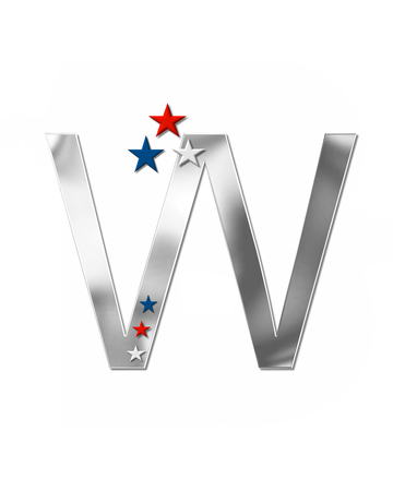 The letter W, in the alphabet set Plain Patriotism is silver metalic.  Three stars decorate letter with red, white and blue.  Letters coordinate with Alphabet Patriotism. Stock Photo
