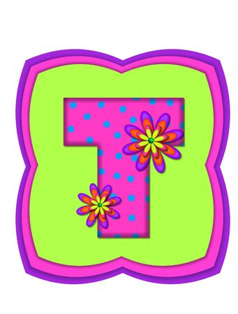 The letter T, in the alphabet set Daisy Daze, is colored in vivid pink with teal polka dots.  It is decorated with four layered daisies.  All sit on a pillow of neon green, hot pink and purple.