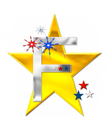 The letter F, in the alphabet set Patriotism is silver metalic.  Fireworks and stars decorate letter with red, white and blue.  Golden star serves as background.