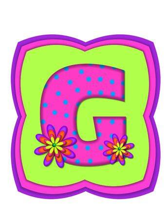 hot pink: The letter G, in the alphabet set Daisy Daze, is colored in vivid pink with teal polka dots.  It is decorated with four layered daisies.  All sit on a pillow of neon green, hot pink and purple.