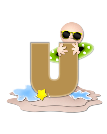 The letter U, in the alphabet set Ocean Swimming is tan.  Letter sits on beach and is decorated with swimmer, water, bubbles and yellow starfish.