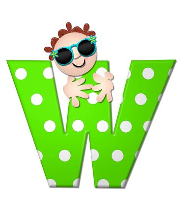 bahama: The letter W, in the alphabet set Bahama Sunny, is vivid green with large white polka dots.  Beach dude peeks his head in and around letter holding it with his hands. Stock Photo