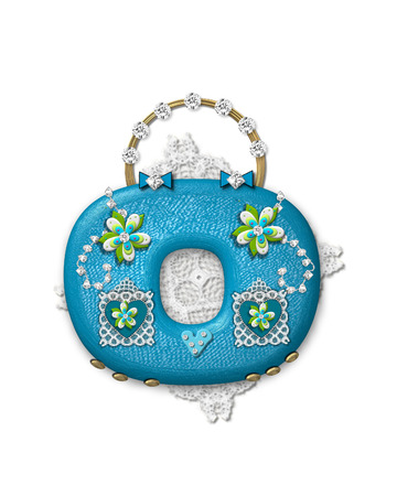 The letter O, in the alphabet set Bling Bag, depicts aqua letter as a blinged out purse with gold handle.  Letter has lace, diamonds and flowers.  Background framing letter is a lace handkerchief. Imagens