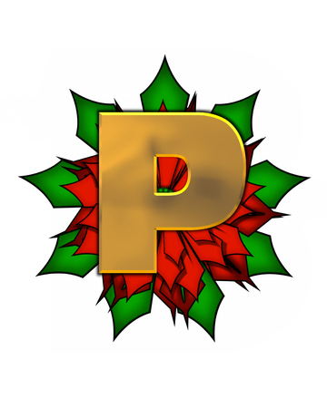 The letter P, in the alphabet set Christmas Poinsettia is shiny gold metallic.  Letter sits on a large red, poinsettia.