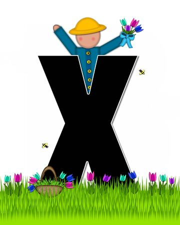 The letter X, in the alphabet set Children Tulip Patch is black outlined with white.  Children hold tulip bouquet and stand in colorful tulip patch.