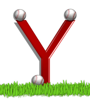 The letter Y, in the alphabet set Baseball, is red.  Three baseballs decorate 3D letter.  All sit in a field of green grass.