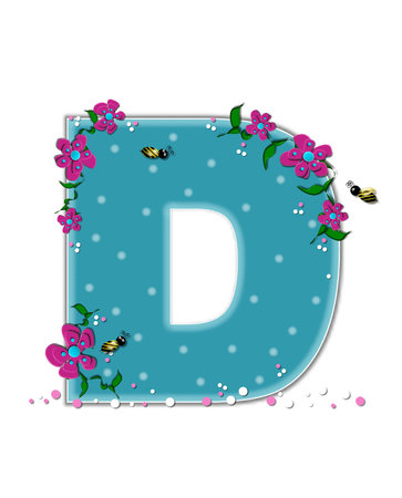 buzzing: The letter D, in the alphabet set Garden Buzz, is aqua.  Each letter is decorated with soft polka dots, flowers and buzzing bees.  Base of letter is covered in pink and white confetti.