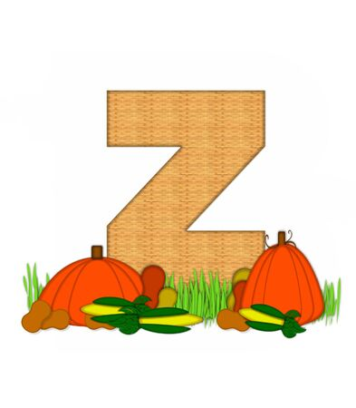 bounty: The letter Z, in the alphabet set Blessed Bounty, is filled with wicker texture.  Letter sits in grassy field surrounded by Fall vegetables.
