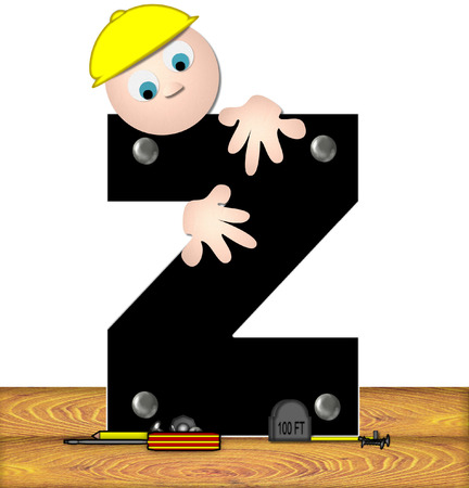inspecting: The letter Z, in the alphabet set Construction Worker, is black with silver nails embedded in letter.  Construction worker bends over inspecting letter.  Tools sit beside letter on wooden planks.