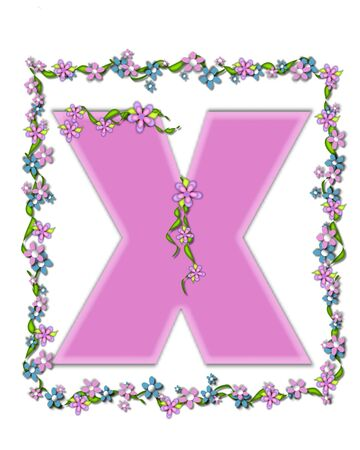 smaller: The letter X, in the alphabet set Daisy Fair Pink is a soft pastel shade of lilac.  Garland of ivy and flowers covers outline of letter and smaller chain of flowers drape letter. Stock Photo