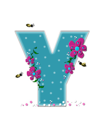 buzzing: The letter Y, in the alphabet set Garden Buzz, is aqua.  Each letter is decorated with soft polka dots, flowers and buzzing bees.  Base of letter is covered in pink and white confetti. Stock Photo