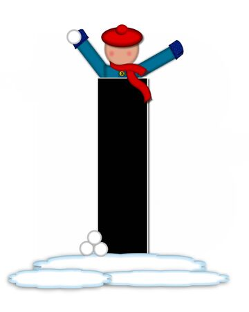 snow cap: The letter I, in the alphabet set Children Snow Fight, is black and outlined with white.  Children, dressed in cap, scarf and mittens, hold snowball ready for a fight.