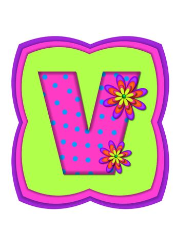 The letter V, in the alphabet set Daisy Daze, is colored in vivid pink with teal polka dots.  It is decorated with four layered daisies.  All sit on a pillow of neon green, hot pink and purple. Stock Photo