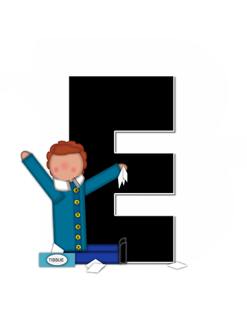 sickness: The letter E, in the alphabet set Children Sickness is black and trimmed with white.  Child is wearing a scarf, and treating an illness or sickness with tissues and medicine.