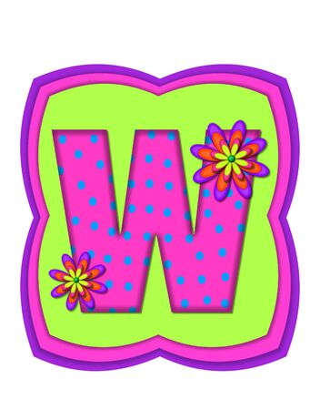 daisy pink: The letter W, in the alphabet set Daisy Daze, is colored in vivid pink with teal polka dots.  It is decorated with four layered daisies.  All sit on a pillow of neon green, hot pink and purple.