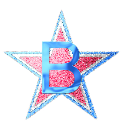 independance day: The letter B, in the alphabet set Red White and Blue is blue metallic.  Letter sits on three mosaic stars of red, white and blue.
