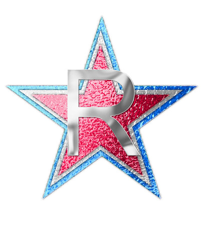 metalic background: The letter R, in the alphabet set All Star is silver metalic.  Three stars of red, white and blue form background. Stock Photo