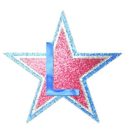independance day: The letter L, in the alphabet set Red White and Blue is blue metallic.  Letter sits on three mosaic stars of red, white and blue. Stock Photo