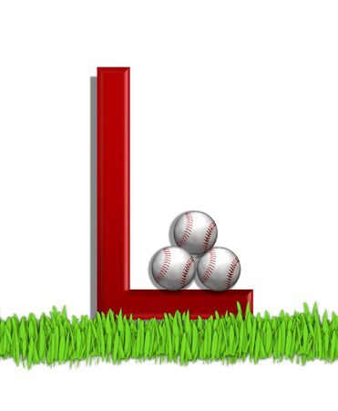 The letter L, in the alphabet set Baseball, is red.  Three baseballs decorate 3D letter.  All sit in a field of green grass.