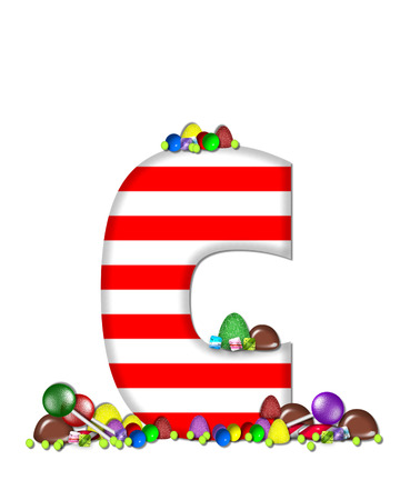 letter c: The letter C, in the alphabet set Sweet Tooth, is red and white striped.  Letter is decorated with colorful candy and lollipops.