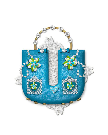The letter U, in the alphabet set Bling Bag, depicts aqua letter as a blinged out purse with gold handle.  Letter has lace, diamonds and flowers.  Background framing letter is a lace handkerchief. Imagens