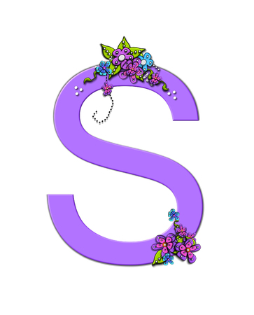 The soft, lilac letter S, in the alphabet set Burst of Spring Lilac is decorated with bouquets of 3D flowers, with dots in white and black and vines of green.