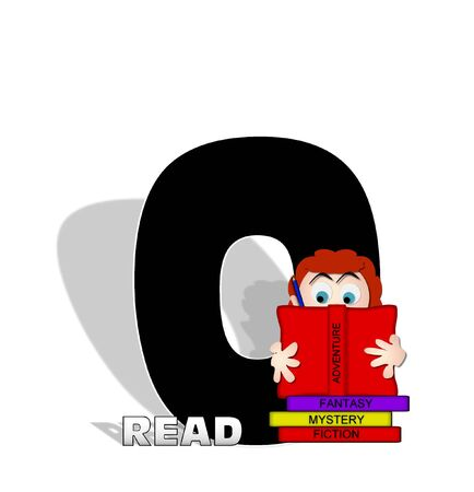 absorbed: The letter O, in the alphabet set Absorbed in Reading, is black and decorated with books and people absorbed in reading.  Stark shadow hangs behind letter.  Books have genre printed on spine binding. Stock Photo