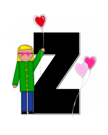 floating: The letter Z, in the alphabet set Alphabet Children Valentines is black with white outline.  Children holding valentines shaped ballons decorate letter. Stock Photo