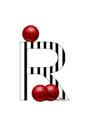 The letter R,in the alphabet set Referee, is black and white striped.  A whistle, on a black ribbon, and basketballs decorate each letter.