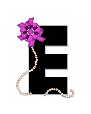 e pretty: The letter E, in the alphabet set Ribbon Trimmed, is black, outlined with white.  Letter is decorated with colorful bow trimmed with pearls.  Strands of pearls fall from bow and lay at bottom of letter. Stock Photo