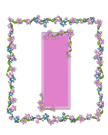 smaller: The letter I, in the alphabet set Daisy Fair Pink is a soft pastel shade of lilac.  Garland of ivy and flowers covers outline of letter and smaller chain of flowers drape letter.