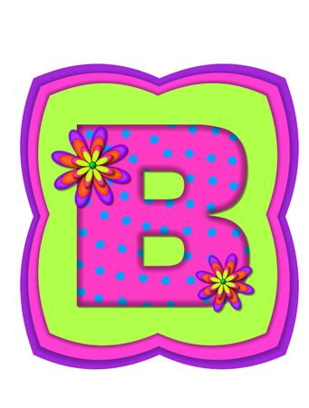 The letter B, in the alphabet set Daisy Daze, is colored in vivid pink with teal polka dots.  It is decorated with four layered daisies.  All sit on a pillow of neon green, hot pink and purple.