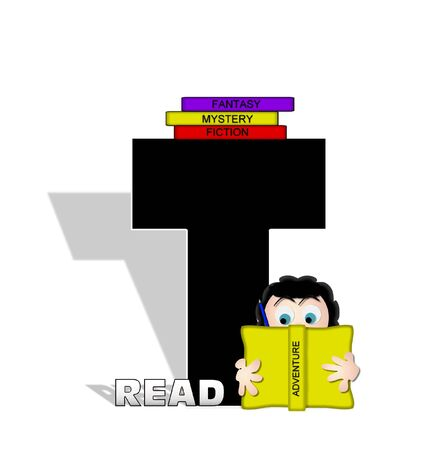 absorbed: The letter T, in the alphabet set Absorbed in Reading, is black and decorated with books and people absorbed in reading.  Stark shadow hangs behind letter.  Books have genre printed on spine binding. Stock Photo