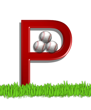 outfield: The letter P, in the alphabet set Baseball, is red.  Three baseballs decorate 3D letter.  All sit in a field of green grass.
