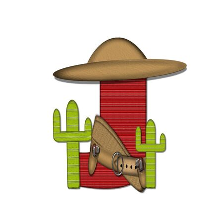 The letter J, in the alphabet set Bandido, is a red lined, tight woven pattern.  Letter is wearing a gun belt and blanket with a somberro on top.  Two cacti sit at each side.