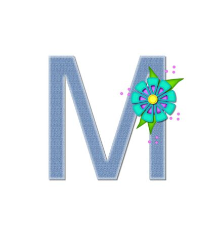 dandy: The letter M, in the alphabet set Denim Dandy, is filled with light blue denim.  Letter is decorated with bright colored flower with polka dots.