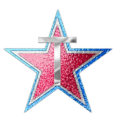 The letter T, in the alphabet set All Star is silver metalic.  Three stars of red, white and blue form background. Stock fotó