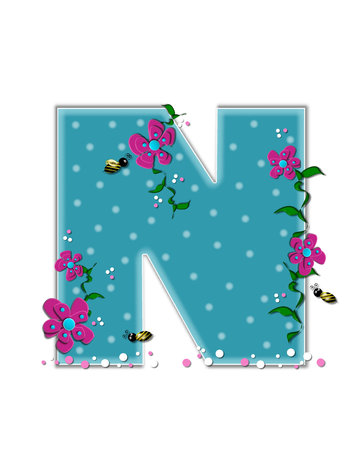 buzz: The letter N, in the alphabet set Garden Buzz, is aqua.  Each letter is decorated with soft polka dots, flowers and buzzing bees.  Base of letter is covered in pink and white confetti.